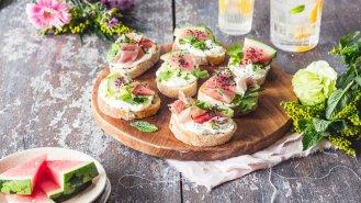 Obložené chlebíčky s melounem