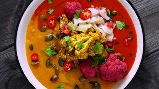 Dvoubarevná dýňová polévka